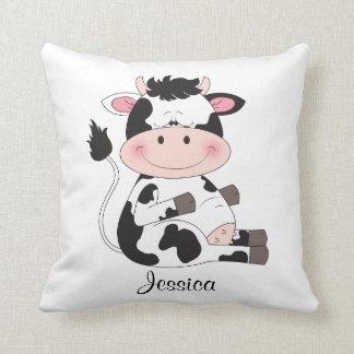 Bande dessinée mignonne de vache à bébé coussin décoratif