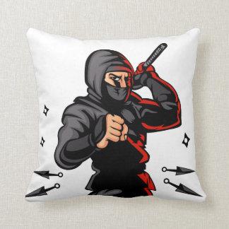 bande dessinée noire de ninja coussin décoratif
