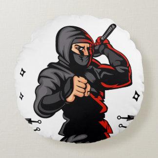 bande dessinée noire de ninja coussins ronds