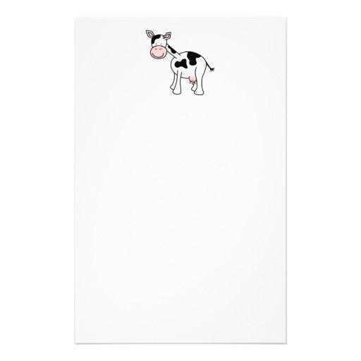 Bande dessinée noire et blanche de vache papier à lettre customisable
