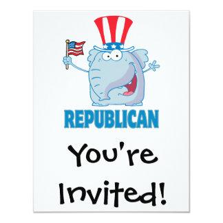 bande dessinée politique d'éléphant républicain carton d'invitation 10,79 cm x 13,97 cm