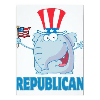 bande dessinée politique d'éléphant républicain invitations personnalisables