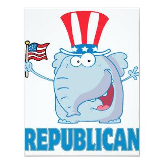 bande dessinée politique d'éléphant républicain cartons d'invitation personnalisés