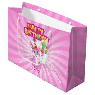 Bande dessinée rose d'anniversaire de lapin grand sac cadeau