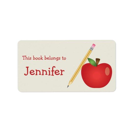 Bande dessinée rouge Apple et nom jaune de crayon Étiquette D'adresse