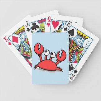 Bande dessinée rouge mignonne de crabe jeu de cartes