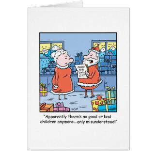 Bande dessinée Santa de Noël bonnes et mauvaise Carte De Vœux