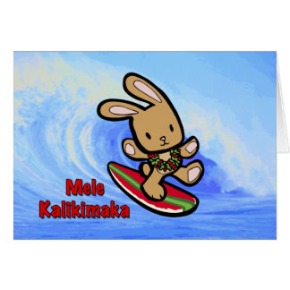 Bande dessinée surfante hawaïenne de vacances de carte de vœux