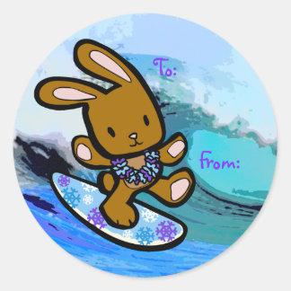 Bande dessinée surfante hawaïenne de vacances de sticker rond