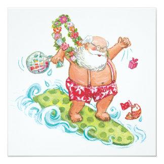 Bande dessinée vintage de Noël surfant le père Carton D'invitation 13,33 Cm