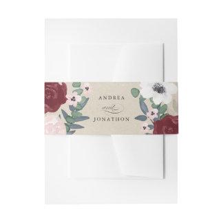 Bande florale romantique de ventre d'invitation bandeaux de faire-part