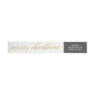 Bande Pour Adresse De Retour Aluminium de Faux de Joyeux Noël de manuscrit de
