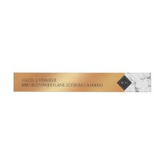 Bande Pour Adresse De Retour Aluminium élégant de marbre et d'en cuivre