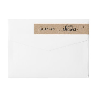 Bande Pour Adresse De Retour Baby shower rustique de calligraphie de Papier