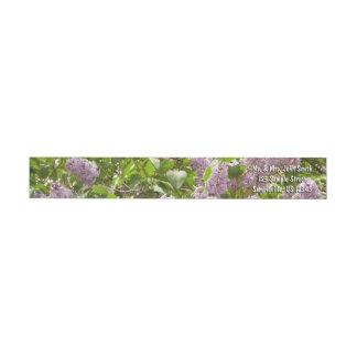 Bande Pour Adresse De Retour Belles fleurs pourpres lilas de ressort de Bush
