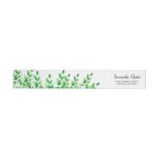 Bande Pour Adresse De Retour Calligraphie verte du feuillage   d'aquarelle