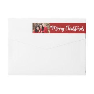 Bande Pour Adresse De Retour Enrouler blanc rouge de photo de Joyeux Noël