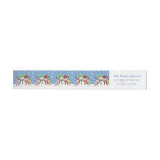 Bande Pour Adresse De Retour Enrouler de famille de bonhommes de neige autour