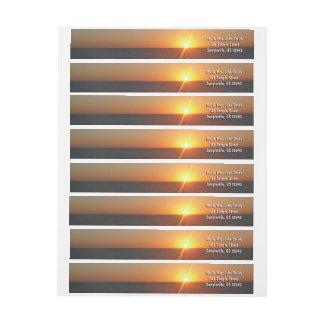 Bande Pour Adresse De Retour Lever de soleil au paysage marin d'horizon d'océan