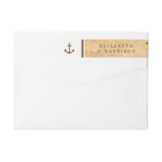 Bande Pour Adresse De Retour Mariage de papier vintage encadré par ancre