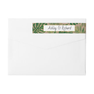 Bande Pour Adresse De Retour Mariage rustique tropical vert de papier