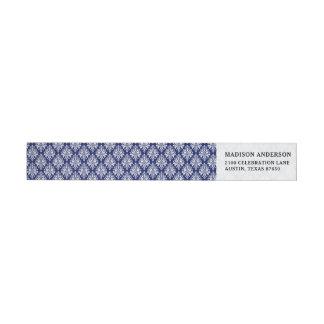 Bande Pour Adresse De Retour Motif élégant de damassé de bleu marine et de