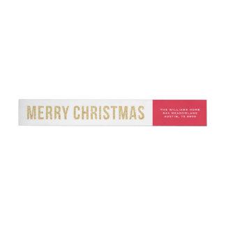 Bande Pour Adresse De Retour Noël de collage de photo de parties scintillantes
