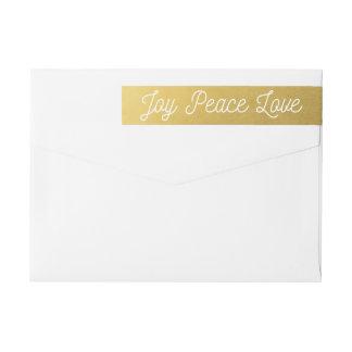 Bande Pour Adresse De Retour Or de coutume d'amour de paix de joie de Noël