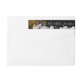 Bande Pour Adresse De Retour Photo florale d'aquarelle noire et blanche moderne