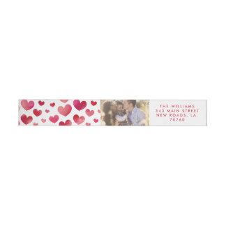 Bande Pour Adresse De Retour Saint-Valentin de coeurs d'aquarelle