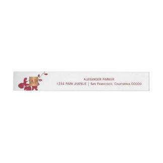 Bande Pour Adresse Décoré d'un monogramme de cuivre métallique floral