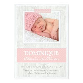 Bande rose sur le faire-part de naissance en bois carton d'invitation  12,7 cm x 17,78 cm