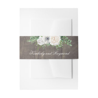 Bandeau De Faire-part Fleurs en bois et blanches rustiques