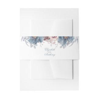 Bandeau De Faire-part Floral bleu et mauve poussiéreux