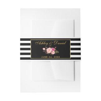 Bandeau De Faire-part Le noir rose floral d'or barre le mariage