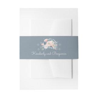 Bandeau De Faire-part Mariage élégant floral poussiéreux de bleu et de