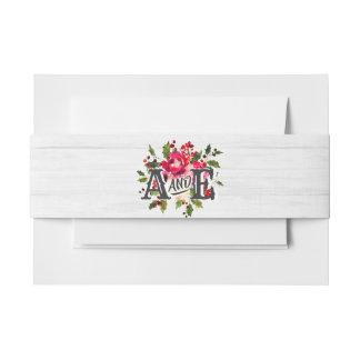 Bandeau De Faire-part Monogramme en bois blanc de mariage de houx