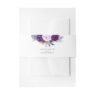 Bandeau De Faire-part Pourpre et fleurs d'aquarelle de prune
