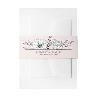 Bandeau De Faire-part Rougissent la bande florale botanique rose de