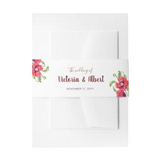 Bandeaux De Faire-part Mariage floral d'art de pavots rouges d'aquarelle