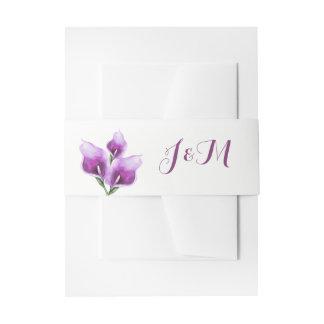 Bandeaux De Faire-part Mariage floral de calla de monogramme pourpre de