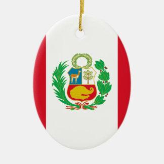 Bandera del Perú - drapeau du Pérou Ornement Ovale En Céramique