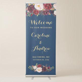 Banderole Rétractable Accueil floral rustique de mariage de bleu marine