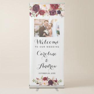 Banderole Rétractable Photo bienvenue chic florale de mariage de Marsala