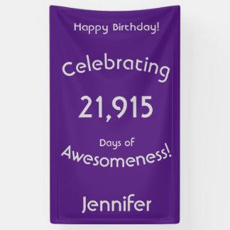 Banderoles Célébration de 21.915 jours d'anniversaire
