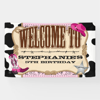 Banderoles Cow-girl, anniversaire rose, accueil