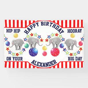 Banderoles Fête d'anniversaire d'éléphant de thème de cir
