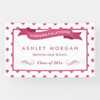 Banderoles Fête de remise des diplômes rose Girly de Congrats