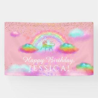 Banderoles L'arc-en-ciel de fête d'anniversaire de licorne