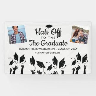 Banderoles Les casquettes aux photos d'obtention du diplôme